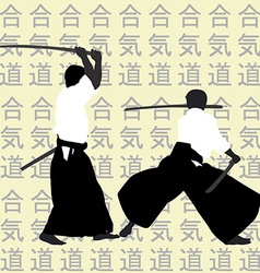 Aikido men silhouettes vector