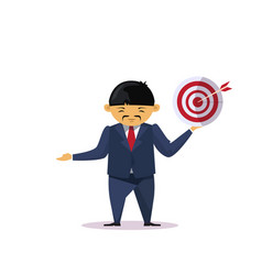 Asian business man holding target with arrow vector