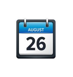August 26 Calendar icon flat vector