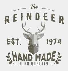 Authentic hipster logotype with polygonal reindeer vector image