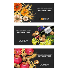 Autumn harvest banners set realistic vector