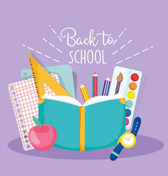 Back to school book pencil clock apple sheets vector