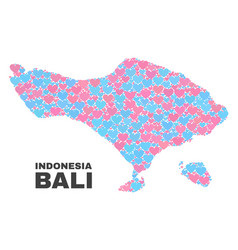 Bali map - mosaic of love hearts vector