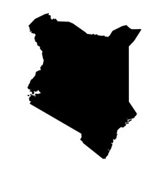 Black silhouette country borders map of kenya on vector