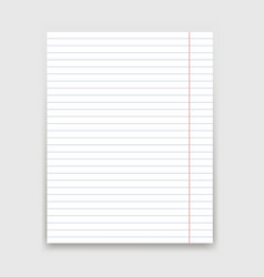blank white lined paper on white background vector image