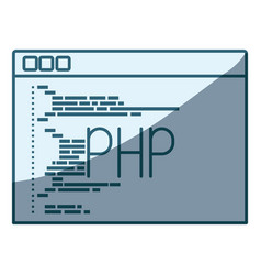 Blue shading silhouette of programming window with vector