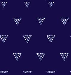Blue shibori simple triangles polka dot vector