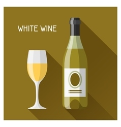 bottle and glass white wine in flat design vector image