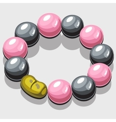 Bracelet with black and pink pearls vector