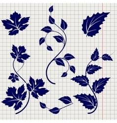 Branches and leaves ball pen sketch vector