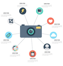 Camera with icons template vector