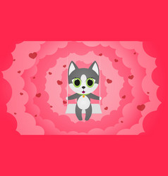 character design cat love and little heart for vector image