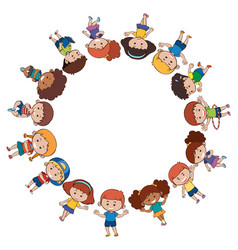 children around the border vector image