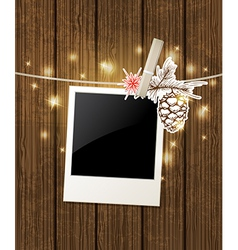 Christmas background with photo and pine branch vector