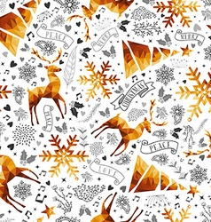 Christmas hand drawn and low poly symbols pattern vector image