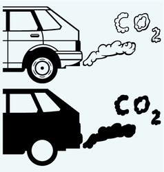 Close up of a car fumes emissions in the traffic vector