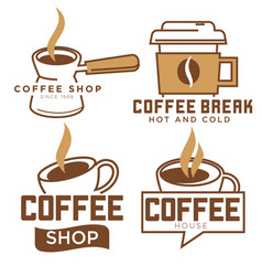 coffee shop and break set logotypes or labels vector image