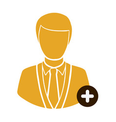 Color half body silhouette man with plus icon vector