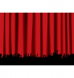 Concert crowd red curtain vector