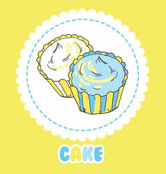 creamy yellow and blue cupcakes on white vector image