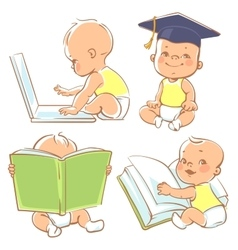 Cute little baby learning vector