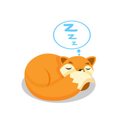 Cute little fox sleeping curled up funny pup vector