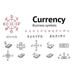 Dollar Euro Pound Yen Ruble Rupee Shexel vector