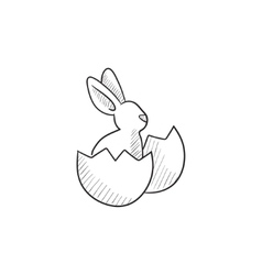 Easter bunny sitting in egg shell sketch icon vector image