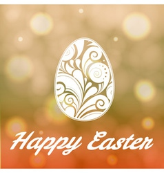 Easter egg with floral ornament on bright bokeh ba vector