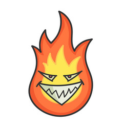 Evil fireball cartoon vector