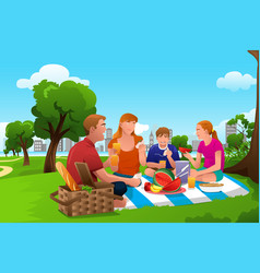 Family having a picnic in the park vector