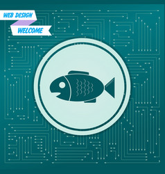 Fish icon on a green background with arrows in vector