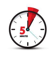 five minutes clock icon isolated on white vector image