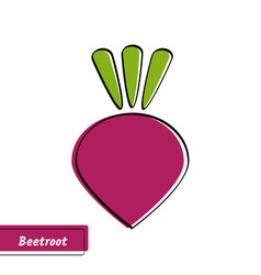 Flat beetroot education card with black contour vector