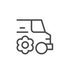 Flower delivery line outline icon vector