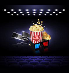 For the film industry film popcorn and tickets vector