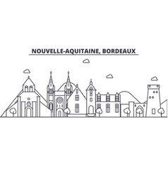 France bordeaux architecture line skyline vector
