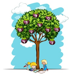 Girls reading under tree with numbers vector image