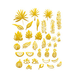 Gold hand drawn plants vector