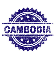 Grunge textured cambodia stamp seal vector