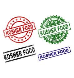 Grunge textured kosher food stamp seals vector