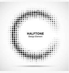 halftone half moon circule frame background vector image
