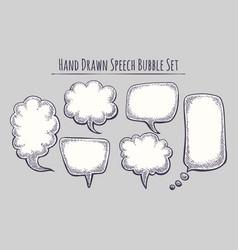 hand drawn speech bubble set vector image