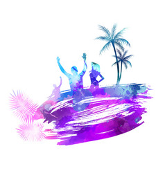Hello summer watercolored background vector