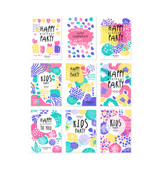 Kids birthday party original design posters set vector