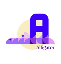 letter a - alligator vector image