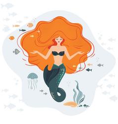 mermaid life cartoon travel tropical vector image