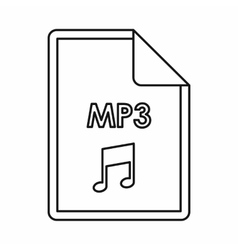 MP3 audio file extension icon outline style vector image
