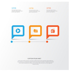 Music icons set collection of tuner dossier vector