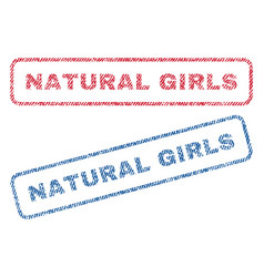 Natural girls textile stamps vector
